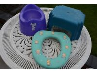 Child's potty, toilet seat and step.