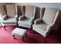 Three HSL Buckingham Comfort Chairs and matching Footstool in Coniston Champagne Fabric (WILL SPLIT)