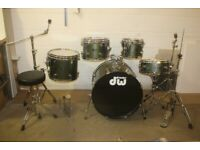 DW Pacific CX Series Olive Green Full 5 Piece Drum Kit (22in Bass) + Paiste Cymbal Set - £475 ono