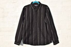"Topman London Large Black with White Stripes Smart Long-Sleeved Shirt C44"" & N16 ¾"""