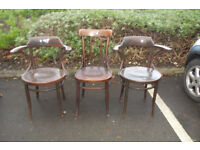 antique bentwood chairs captain carvers x 3