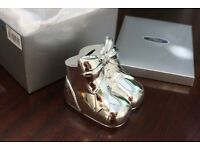 New Unused Silver Plated Pair of Booties Money Box
