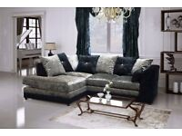 Corner crushed velvet silver black sofa, many other sofas + beds on offer call now to order