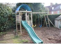 Swings, climbing frame and slide garden set with mini climbing wall, with play platform, wooden