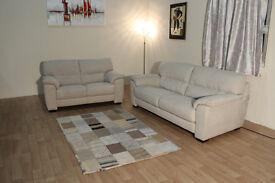 Ex-display Shades cream fabric 3+2 seater sofas