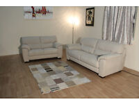 Ex-display Shades cream fabric 3+2 seater sofas