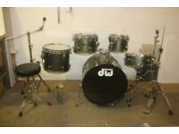 DW Pacific CX Series Olive Green Full 5 Piece Fusion Drum Kit (22in Bass) Stands + Zildjian Cymbals