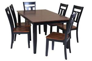 Aden Seven Piece Dining Set In Distressed Light Cherry And Black