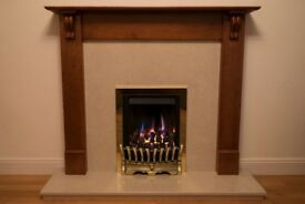 Cherry wood Fire Surround c/w light brown marble hearth and surround and Kinder Fuel-effect Gas Fire