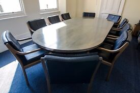 3m Boardroom Table & 10 Leather Chairs + 1 round table, 4 chairs, 2 desks, 1 desk chair & 1 cabinet