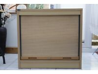 office cupboard, with retracting shelf for file storage, with melamine wood effect finish