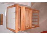 Portable Pine Kitchen unit with tiled top and draw