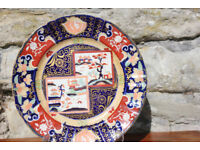 Antique Masons Pottery Double Landscape Plate Handpainted & Gilded 19th Century Victorian 19thC