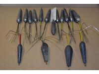 Assorted nose wired sea fishing weights, home made