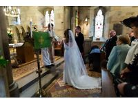 Beautiful cathedral length lace edged veil