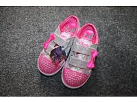 new Girls Skechers Twinkle Toes Flashing Shoes trainers - silver/ pink uk 9 CAN POST