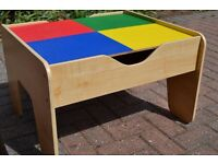 Wooden Lego and Railway Reversible Play Table