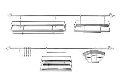 16 Teile Edelstahl Küchenreling Relingsystem Küchenleiste Tuchhalter Haken