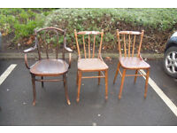 antique luterma bentwood chairs x 3