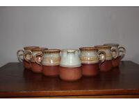 Vintage Set of 6 Cups / Mugs And a Milk Jug Glazed Pottery Probably Handthrown Tea Set Coffee