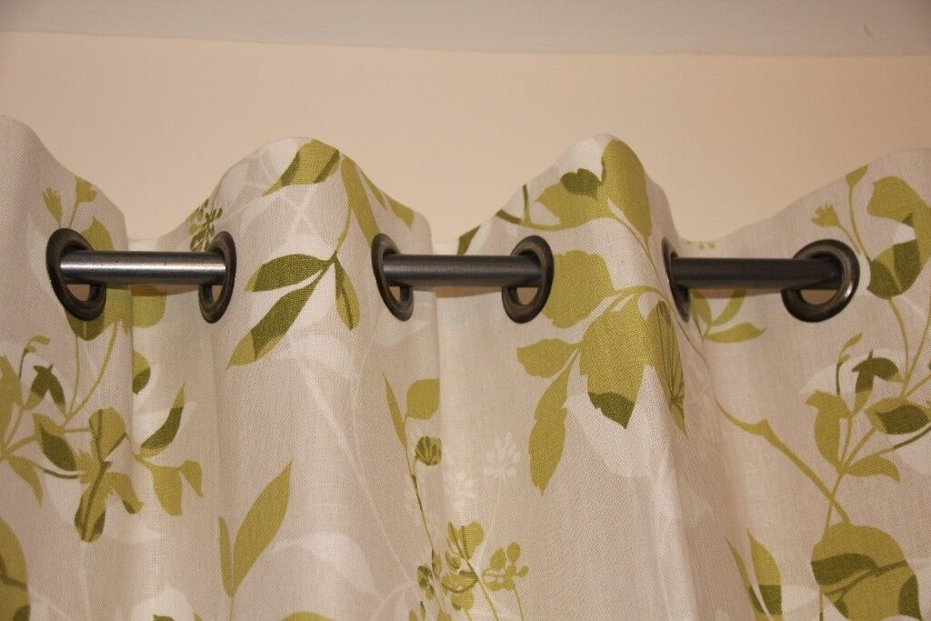 Floral Green Citrine Design Laura Ashley Curtains With Matching