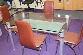 Glass & Chrome Dining Table with Brown Leather Effect Chairs