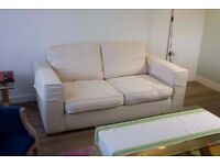 2 seater/double cream suede Sofa Bed