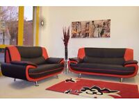 HIGH QUALITY FAUX LEATHER BLACK AND RED CAROL SOFA SUITE - SAME DAY FAST DELIVERY