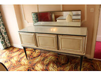 UMBERTO MASCAGNI Vintage Italian Dining Sideboard Cabinet with Mirror