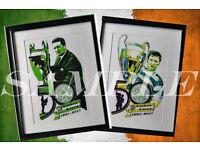 original artwork Lisbon Lions European Cup Jock Stein Billy McNeill A3 prints
