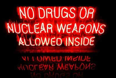 Laminated No Drugs or Nuclear Weapons Allowed Inside Neon Warning Sign Poster