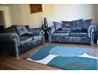 \❤️❤️RIO CRUSHED VELVET 3+2 Sofa/Corner Sofa (Silver, Choclate, Mink, Black)❤️❤️