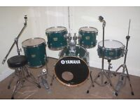 "Yamaha YD Emerald Green 5 Piece Complete Drum Kit (20"" Bass) + Sabian Solar Cymbal Set"