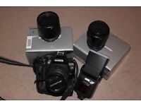 Olympus digital SLR E600 with 3 lens, flash guns, 3 batteries and power battery holder + remote
