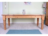 DELIVERY OPTIONS - 7 FT SOLID PINE FARMHOUSE KITCHEN TABLE WAXED CHUNKY LEGS