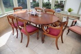 Elegant Dining Table seats 6, 10 with 2 leaves in place. Chairs not included