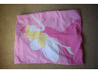 Single pink duvet with princess design and matching pink pillowcase