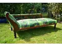 Newly upholstered Chaise Longue with Brewers fabrics called Plumpton Edwardian