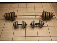 55kg vinyl weights set - barbell and pair of dumbbells / dumbells. Home gym weight set