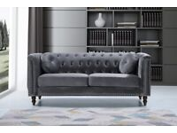 🔵💖TOP QUALITY🔵plush velvet Florence sofa 3 and 2 seater sofa set in grey color-flat packed