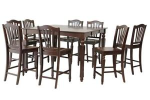 Onoway Nine Piece Dining Set Counter Height In Mahogany