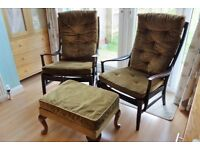 Antique Vintage Parker Knoll Chair & Rocking Chair with Foot Stool PK 977 - Classic Retro