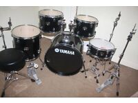 "Yamaha Gigmaker Black 5 Piece Full Drum Kit (22"" Bass) + Stands + Stool + Cymbals"