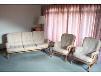 "Ercol ""Jubilee"" 3 seater sofa and 2 armchairs"