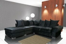 SOFA SALE PRICES : ROYAL CORNER SOFAS IN SILVER OR BLACK VELVET, MATCHING FOOT STOOLS AVAILABLE