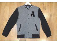 TOPMAN College Jacket Style Cardigan, UK S, Black/Grey