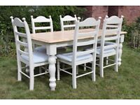 Beautiful 6ft Solid Oak Shabby Chic Painted Farmhouse Dining Table with 6 Chairs