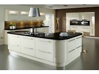 New, High Gloss Kitchen with units, soft close doors, handles and choice of Worktop, Glasgow.