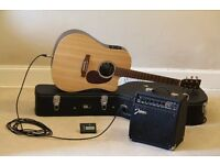 Pristine, 800 pounds value: Electro Acoustic Guitar Martin DCX1RE, TGI Case and Johnson Amplifier
