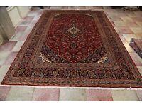 Massive Room Size Lamnb's Wool Persian Kashan Ruge Carpet Signed 345x250